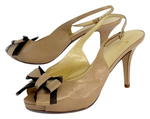 Kate Spade Tan Tulle Leather Bow Heels Sandals