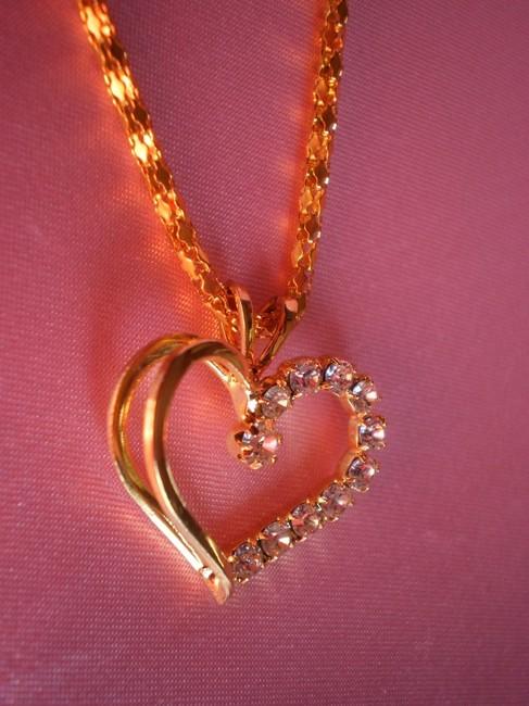 Gold Heart W/Crystals Necklace Gold Heart W/Crystals Necklace Image 1