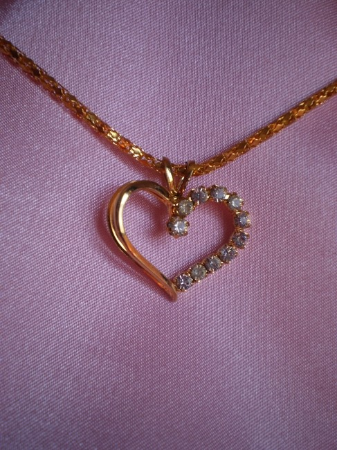 Gold Heart W/Crystals Necklace Gold Heart W/Crystals Necklace Image 3