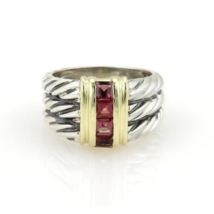 David Yurman David Yurman Garnets 925 Silver 14k Gold Rows Cable Ring