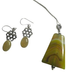 Other Sterling Silver Agate Gemstone Earrings Necklace Set N609