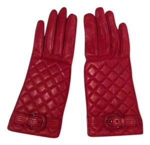 Burberry Red leather BURBERRY gloves