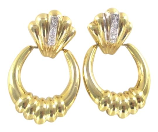 Other 14KT SOLID YELLOW GOLD EARRINGS 6 DIAMONDS .12 CARAT 4.8 GRAMS FINE JEWELRY Image 0