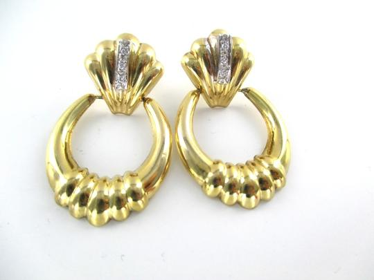 Other 14KT SOLID YELLOW GOLD EARRINGS 6 DIAMONDS .12 CARAT 4.8 GRAMS FINE JEWELRY Image 1