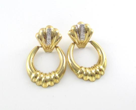 Other 14KT SOLID YELLOW GOLD EARRINGS 6 DIAMONDS .12 CARAT 4.8 GRAMS FINE JEWELRY Image 2