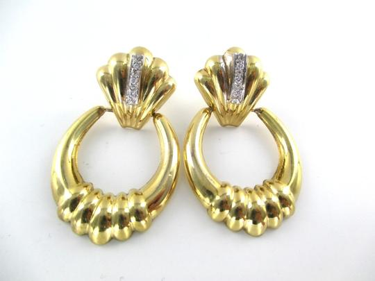 Other 14KT SOLID YELLOW GOLD EARRINGS 6 DIAMONDS .12 CARAT 4.8 GRAMS FINE JEWELRY Image 3
