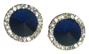 14K Rose Gold Plated Earrings Blue Crystal E603
