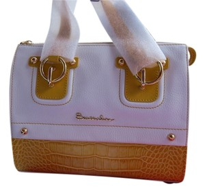 Braccialini Colorblock Mixed Leathers Bold Hardware Made In Italy Satchel in White/Yellow