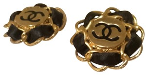 Chanel Vintage Chanel Leather Chain Earrings