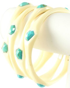 Ippolita IPPOLITA IVORY RESIN 4 STONE TURQUOISE BANGLE