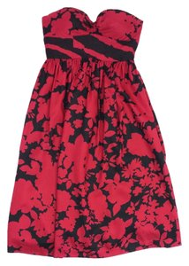 Tibi short dress Black & Red Print Silk Blend Strapless on Tradesy