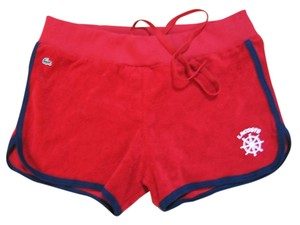 Lacoste LACOSTE Red Cotton Ribbed Waist Straw String Sporty Short
