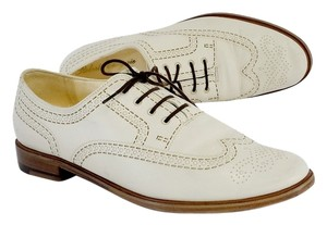 Robert Clergerie White Leather Stitch Print Oxfords Boots