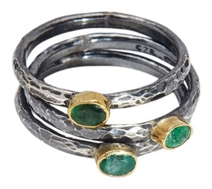 Condemned to Be Free Oxidized Silver & 24k Gold Genuine Emerald Stackable Rings