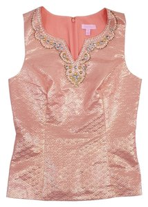 Lilly Pulitzer Pink Brocade Beaded Sleeveless Top
