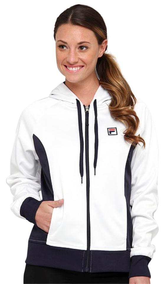 15726f4a Fila White/Black Women's Two Tone Zip Front Long Sleeve Activewear  Outerwear Size 8 (M, 29, 30)