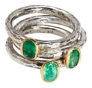 Condemned to Be Free Silver & 24k Gold Genuine Emerald Stackable Rings