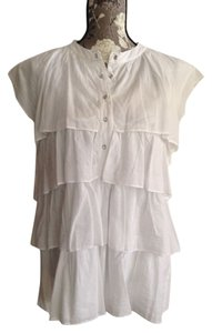 Nine West Ruffle Nwt Plus-size Cotton Top White
