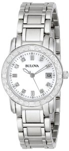 Bulova New Women Diamond-Accented Silver Tone Stainless Steel Watch