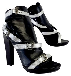Karl Lagerfeld Black Silver Leather Heels Sandals