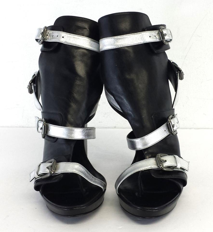 aabedf9a602 Karl Lagerfeld Black   Silver Leather Heels Sandals Size US 10 - Tradesy