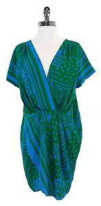 Amanda Uprichard short dress Blue & Green Tribal Print Shift on Tradesy
