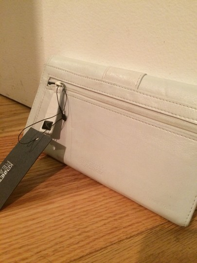 "Kenneth Cole ""worn"" White Leather Studded Kenneth Cole Wallet"