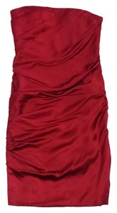 Vera Wang short dress Red Silk Gathered Strapless on Tradesy