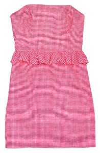 Lilly Pulitzer short dress Pink & White Gingham Cotton Strapless on Tradesy