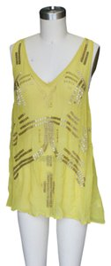 Free People Free People Embroidered Sheer Tanktop Mustard (S)