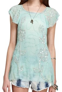 Free People Polyester Top Teal