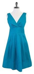 Nanette Lepore short dress Turquoise Pleated Cotton on Tradesy