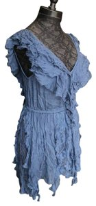 Free People short dress Blue Cotton Embroidery Ruffle on Tradesy