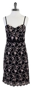MILLY short dress Black Lace Pink Embroidered on Tradesy