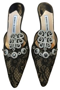 Manolo Blahnik Lace Diamond Vintage Black Mules