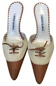 Manolo Blahnik Linen Leather Lace Up Summer Tan Mules