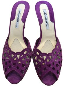 Brian Atwood Laser Cut Suede Slide Purple Mules