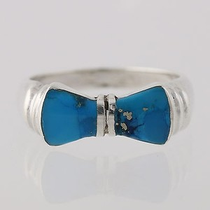 Turquoise Bow Ring - Sterling Silver Womens Blue Stone 925