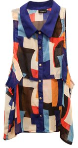 Noble U Collared Collared Buttons Polyester Flowy Comfortable Cute Stylish Geometric Top Primary Color Pattern Print