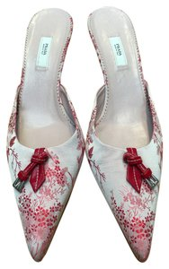 Prada Print Satin Leather Buckle Red Mules