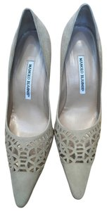 Manolo Blahnik Laser Cut Suede Circles Cream Tan Pumps