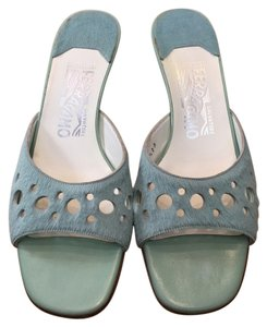 Salvatore Ferragamo Fur Laser Cut Circle Slide Blue Sandals