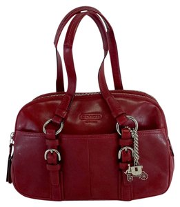 Coach Red Leather Multi Compartment Hobo Bag