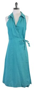 Max Mara Turquoise Linen Wrap Dress