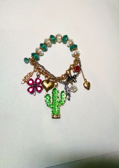 Betsey Johnson Betsey Johnson Bracelet Cactus Flowers Silver Gold Charms J470