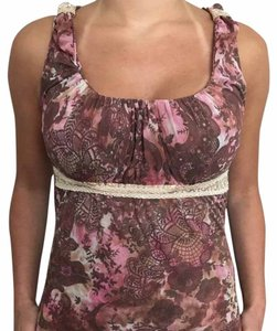 Sweet Pea by Stacy Frati Floral Print Empire Waist Spring Sleeveless Top Pink
