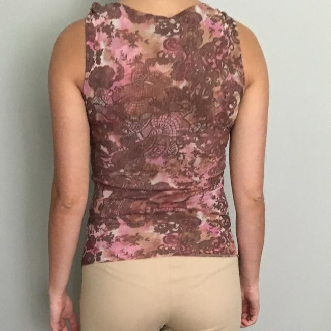 Sweet Pea by Stacy Frati Floral Print Empire Waist Spring Sleeveless Top Pink Image 2