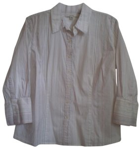 Merona Button Down Shirt White w/stripes