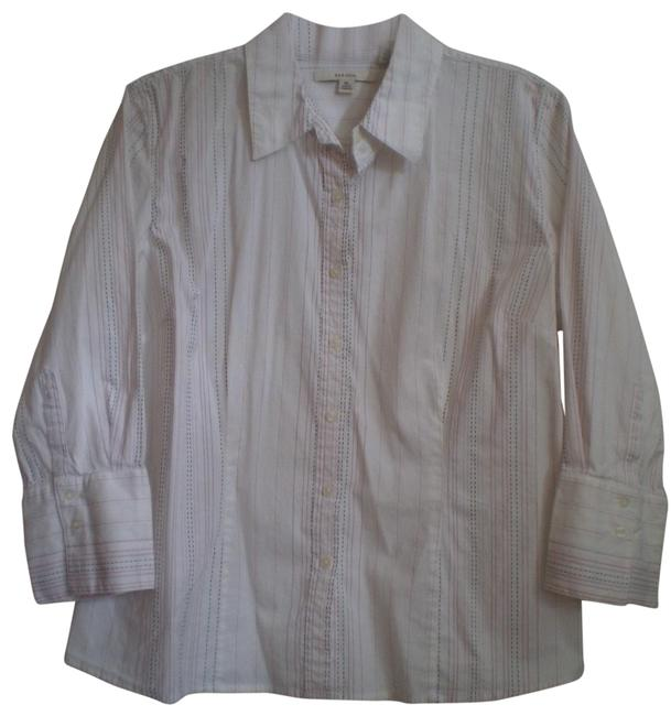 Preload https://item4.tradesy.com/images/merona-white-wstripes-like-new-long-sleeved-wstitching-shirt-button-down-top-size-16-xl-plus-0x-150598-0-1.jpg?width=400&height=650