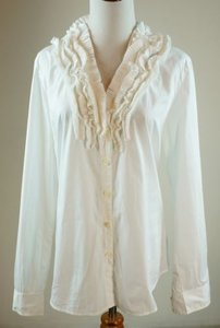 J.Crew Ruffled Dress Shirt Top White
